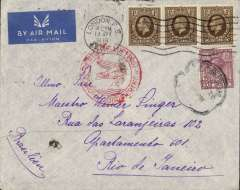 (GB External) London to Rio de Janero, bs 16/4, imprint etiquette cover correctly rated 3/6d (1/- x3 + 6d), canc London cds, fine strike 'Deutsche Luftpost/Europe-Sud Amerika hs, Day and date of arrival confirms DLH seaplane service # L339, plane 'Zyklon'. Image.