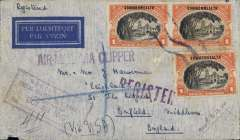 (Philippines) Double rate uncensored wartime airmail,  'air all the way by air' Pan Am trans Pacfic and trans Atlantic clipper service, Manila to London, bs 30/11, via Honolulu 1/11 and New York 15/11, imprint etiquette airmail cover correctly rated 3 Pesos 58c (2x P1.72 + registration fee), violet framed 'Registered/Postal Stationary No 1 Manila/Philippines/Oct 23 1940' postmark front and verso, purple 'Air-Mail PAA Clipper' hand stamp. Flown by the two ocean clipper service to the UK, flown Pan Am 14 Manila to San Francisco, US internal air service to New York, Pan Am FAM18  trans Atlantic service to Lisbon, then BOAC/KLM to London. Great routing, see Image.