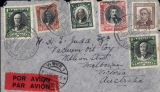 """(Chile) Chile, Valpariso to Melbourne, Australia 5/10, miss sent to Vienna 24/9 arrival cds on front cancelling attractive red/black airmail etiquette, airmail cover franked 4P90 on front and 80c verso. Carried by the Aeropostale accelerated """"air-sea-air"""" service, Air by CGA to Natal, then """"Aviso"""" to Dakar, then air AF to Marseille. Small top edge nibbles, see image."""