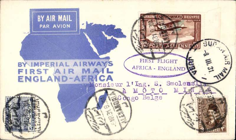 (Egypt) Mail from Egypt to Belgian Congo, Alexandria to Motto Mines, via Aba 14/3 and Juba 8/3, blue map cover from International Airpost and Publishing Service (Impress), correctly franked 15mls basic + 30mls air surcharge, fine strike oval violet 'First Flight/frica-England' cachet.  A well used route from Egypt - Imperial AW to Juba, Societe des Chemons de Fer Vicinaux du Congo mail van from Juba-Aba, and on again by road to Congo. Newall 31.02 d1, rated 80 units. Image.