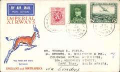 (Belgium) First Belgium acceptance of mail for South Africa, bs Cape Town 21/12, carried on IAW Christmas flight England to South Africa, Springbok cover franked 7.25F, Imperial Airways. Image.