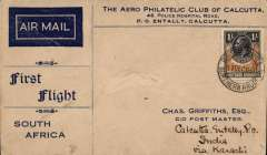 (Northern Rhodesia) Early airmail from Northern Rhodesia to India, accepted for carriage by air on the Imperial Airways Christmas Flight from London to Cape Town, Broken Hill to Calcutta 16/1/32, via Johannesburg 21/12, attractive Aerophilatelic Club of Calcutta souvenir cover addressed c/o Postmaster, Calcutta, Intally PO, India via Karachi, franked Northern Rhodesia 1/-, canc 'Broken Hill/17 Dec 31' cds.