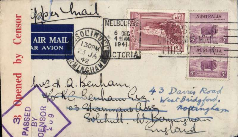 (Australia) The last dispatch of airmail for carriage on the 'air all the way' trans Pacific and trans Atlantic clipper service to England before the attack on Pearl Harbour, Melbourne to London, Solihull 23/1/42 arrival ds tying Melbourne postmark and airmail etiquette. Cover franked 5/- robes and 5d x2, ms 'Via Clipper Mail', sealed red/white Australian 3 OBC censor tape tied by violet triangular 'Passed By/Censor/269 hs. Correctly rated 5/10d for the two ocean clipper service to the UK, carried by TEAL to New Zealand, Pan Am FAM19 to San Francisco, then US internal air service to link with Pan Am FAM18 trans Atlantic service to Lisbon, then BOAC/KLM to London. This service opened on 3/7/40 when Italy entered the war on June 10th, 1940 and closed Mediterranean section of the long established Empire (Kangaroo) route through Europe and across the Indian Ocean. The Pacific Clipper service ceased after the Japanese attack on Pearl Harbour on 11/12/41. An item of considerable aerophilatelic and military significance. Image.