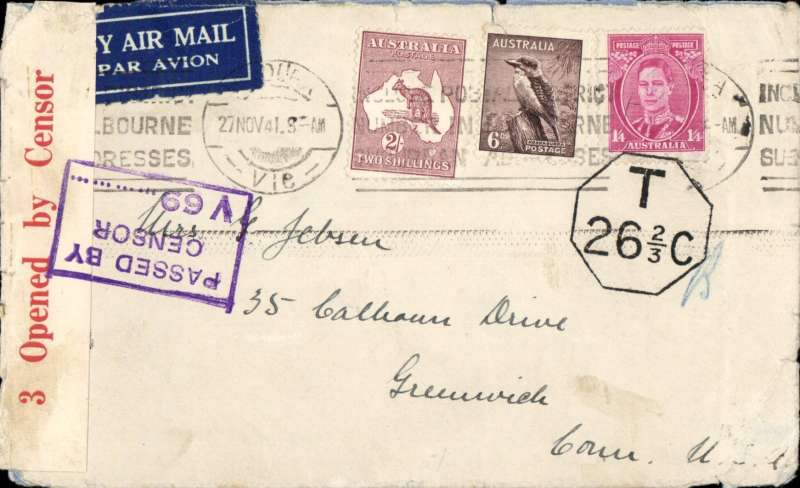 (Australia) Wartime airmail, Pacific Clipper services up to the attack on Pearl Harbour, Victoria to Grenwich, Conn,  underpaid plain cover franked 3/10d (2/-, 1/4d, and 6d), airmail etiquette tying Victoria cds, sealed red/white Australian 3 OBC censor tape, tied by violet boxed 'Passed By/Censor/V 69 (Melbourne) censor mark. Underated for the 4/- trans Pacific clipper service to the US hence black hexagonal 'T26/ 2/3C' censor mark (exceptionally fine strike). Carried by TEAL to New Zealand, Pan Am FAM19 to San Francisco, then US internal air service to destination. This service opened on 17/7/40 after Italy entered the war on June 10th 1940 and closed the Mediterranean section of the long established Empire (Kangaroo) route through Europe and across the Indian Ocean. The Pacific Clipper service ceased after the Japanese attack on Pearl Harbour on 11/12/41.