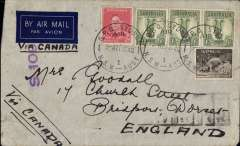 (Australia) Wartime airmail, Australia to England, Sydney to London,' censored imprint etiquette air cover franked 3/11d (1/-x3,9d and 2d), ms 'Via Canada', violet Australia S.109 censor mark, Correctly rated 3/11d for the air/sea service to England, TEAL to New Zealand, Pan Am FAM 14 to San Francisco, US internal air services to New York, then by sea to London. Image.
