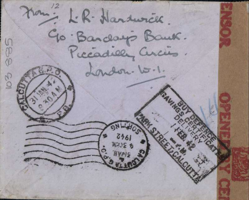 "(GB External) World War II censored airmail cover, flown all the way from London to Calcutta, bs 31/1/42, airmail etiquette cover, franked 5 x 1/-,  canc Cardigan 2 DEC cds, ms ""Via North Atlantic. Trans Pacific Route',  sealed India OBC brown/red crown censor tape tied by crown in triangle censor mark. Correctly rated  5/-  at 'The Two Ocean' rate, for carriage all the way by air by BOAC/KLM to Lisbon, FAM 18 to New York, US internal airline to San Francisco, FAM 14 to Hong Kong then OAT to India.  Until May 22, 1941 the only airmail route to India was by sea to South Africa, then onward transmission by air.  A great item, full of history."