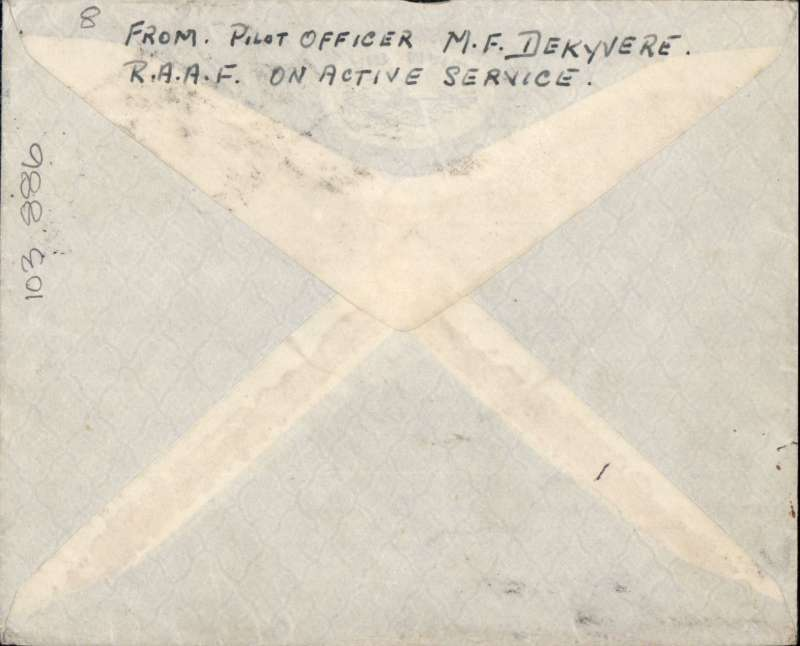 "(GB External) WWII uncensored air mail, England to Australia ""All the Way By Air"" via the United States,, Sunderland to Sydney, plain cover sent from RAF officer On Active Service, franked KGVI 4/6d (KGVI 2/6d + 1/- x2), ms 'Clipper Air Mail/Via North Atlantic /andTrans Pacific'. Correctly rated for carriage by air by BOAC/KLM to Lisbon, Pan Am FAM 18 to New York, US domestic airline to San Francisco, Pan Am FAM 14 to Auckland and TEAL to Australia. A scarce item in fine condition."