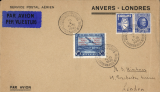(Belgium) Antwerp to London flight from the Antwerp Aerophilatelic Exhibition, souvenir cover franked 50F air with an illegal red bilingual opt 'Service Postal/Azerien/Anvers/London and 1F75 paired with 'Farrand' ? Expo propaganda stamp, both canc special  Expo postmark dated 16/10/1931. Image.