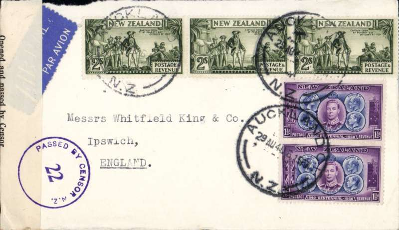 """(New Zealand) Trans Pacific air all the way from New Zealand to England, World War II censored commercial cover from Auckland to London, franked 2/- x3 and 1 1/2d x2, etiquette, sealed black/white NZ censor tape tied by blue """"Passed By Censor NZ/22"""" censor mark. Correctly for 6/3d 'All Air' Pan Am FAM19 Auckland to San Francisco, US internal air service to New York, Pan Am FAM 18 to Lisbon, BOAC/KLM to London. A short lived rate from 20 Jul 1940 to 9 Sept 1940. See Boyle p 877. A truly scarce WWII item in fine condition. Image,"""