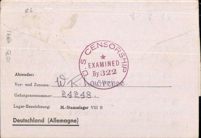 (New Zealand) Dual censored German Prisoner of War Post,  Prisoner of War camp Stalag VIII-B to New Zealand, via Lisbon and the USA, a wonderfully preserved Luftpost/Air Mail letter to New Zealand with clearly legible contents about camp life, blank (no name) 17/1/43 cds tied by red framed 'Tax Percue/...RM.....1' hs, violet 'Luftpost /Airmail' and 'uber Nordamerka' hs's, extra fine strike 'US Censorship/Examined By 322' censor mark on front tying black German (possibly scarce SS) scalloped 'Stalag VIII B.Censor/Nr 37', contents page also stamped with the same censor mark. Stalag VIII-B Lamsdorf was a German Army prisoner of war camp located near the small town of Lamsdorf  in Silesia. In January 1945, as the Soviet armies advanced into Germany, many of the prisoners were marched westward on the so-called Long (Death) March. An exceptional item of museum quality. Image.