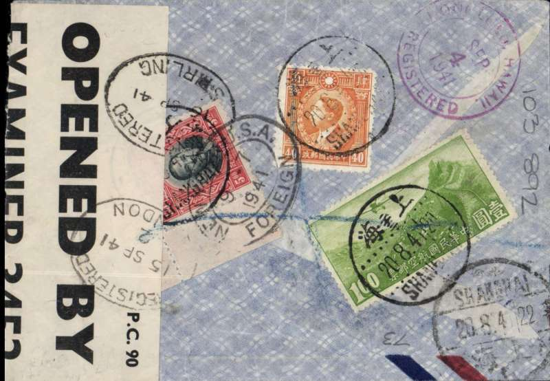 (China) WWII censored airmail 'by air all the way', Shanghai to Scotland, bs 'Registered Stirling oval 16/9' arrival ds, via Hawaii 4/9, New York 7/9, and  'Registered London oval 15/9, red/blue/grey registered (label) airmail envelope correctly rated $6 40c ($6.15 airmail + 25c registration), violet 'Registered' hs. Carried by the China National Aviation Corporation (CNAC) to Hong Kong, Pan Am FAM 14 to San Francisco, US Domestic airline to New York, Pan Am FAM 18 to Lisbon, then by European airline to England, Route F Boyd p772).   A nice wartime cover with brilliant routing. Image.