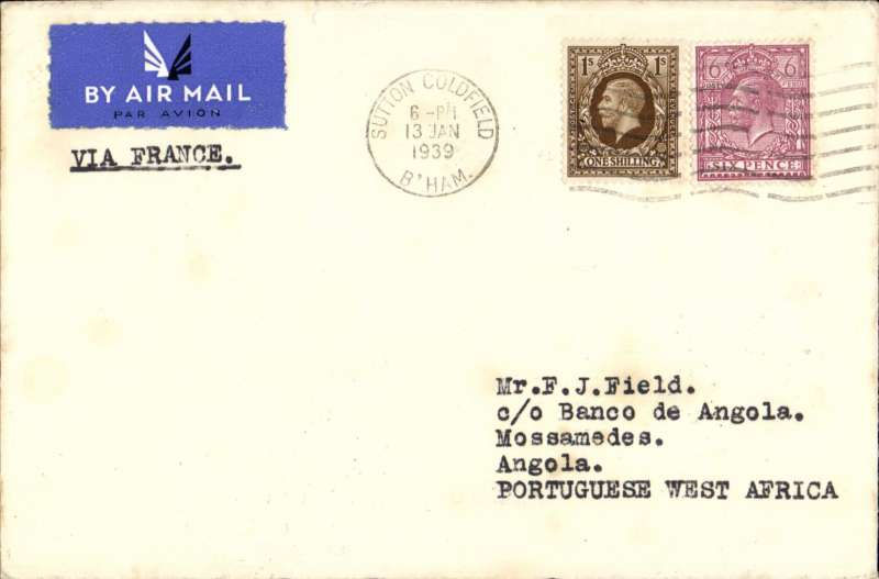 """(GB External) Rare first acceptance of """"all air"""" dispatches from GB to Angola, London to Mossamedes, plain cover correctly rated 1/6d canc Sutton Coldfield/Birmingham cds, flown by Aeromaritime to Pointe Noire 19/1, then by newly established Portuguese air service D.T.A. to Loanda 20/1, Lobito 21/1, Lubango 28/1, and finally arriving Mossamades on 30/1 owing to temporary suspension of air service over last leg. A one hundred word typewritten text compiled by Francis Field giving details of this new service with illustrations of all transit date stamps accompanies this lot.. A mouth watering cover with particularly well documented routing. Image."""