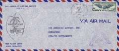 (Guam) PAA Pacific Clipper FAM 14-22 Flight Cover, tied 5/9/41 Guam to Singapore, black lozenge F/F censor mark, printed cachet with #C24 stamp on #10 airmail envelope and weak triangular censor  mark. Image
