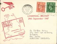 (GB Internal) F/F All Up Service between N. Ireland and Great Britain, Liverpool to Belfast, red/cream BEA ?All-up Service? cover.