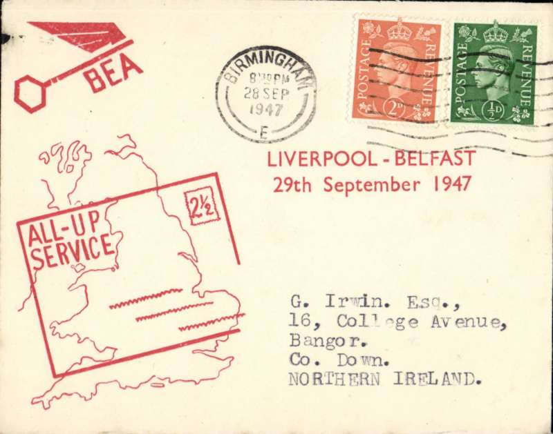 (GB Internal) F/F All Up Service between N. Ireland and Great Britain, Liverpool to Belfast, red/cream BEA 'All-up Service' cover.