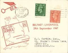 (GB Internal) F/F All Up Service between N. Ireland and Great Britain, Belfast to Liverpool, BEA ?All-up Service? cover.