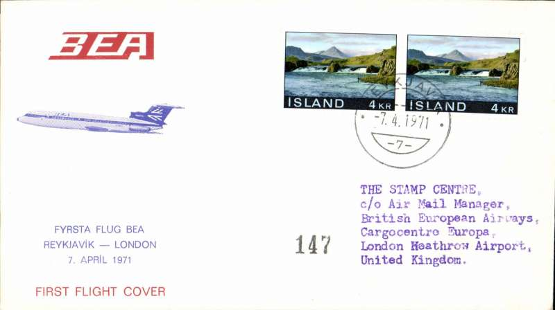 (Iceland) BEA, F/F Reykjavik to London, bs, official souvenir cover franked 4K x2.