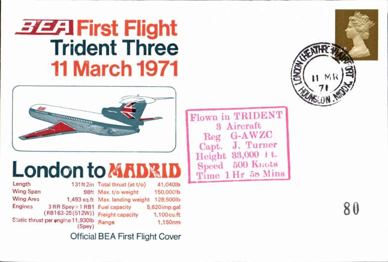 (GB External) BEA Trident F/F, London to Madrid, official cover, b/s, POA, BEA