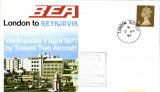 (GB External) BEA Trident F/F London to Reykjavik, bs 7/4, souvenir cver.