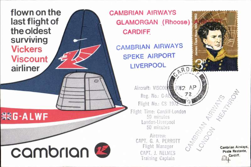 (GB Internal) Cambrian Airways, Cardiff to London, flown on the last flight of the oldest surviving Vickers Viscount airliner, special red/white/blue souvenir cover, 12 line cachet giving flight details..
