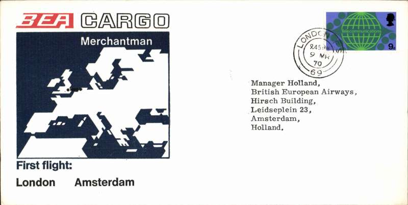 (GB External) BEA Cargo 'Merchantman' F/F London to Amsterdam, bs, souvenir cover. Uncommon.