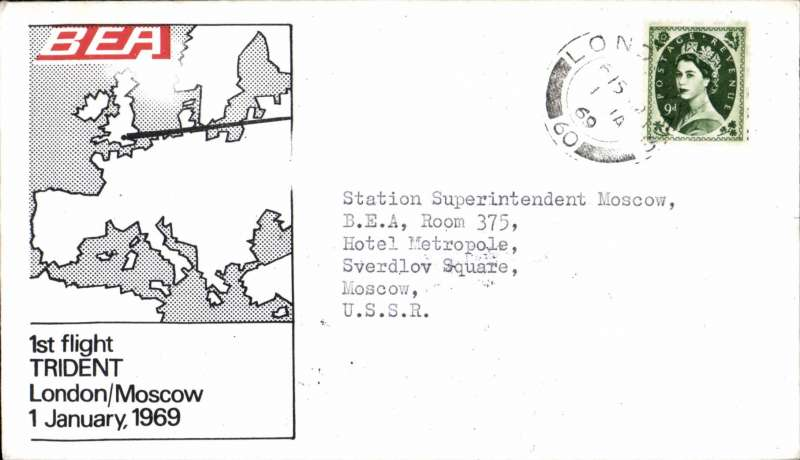 (GB External) BEA Trident F/F London to Moscow, bs, souvenir cover.  Image.