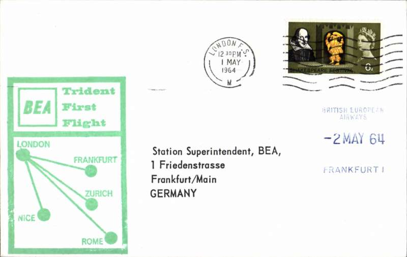 (GB External) BEA  Trident F/F London to Frankfurt, arrival ds on front, souvenir cachet cover. Image.