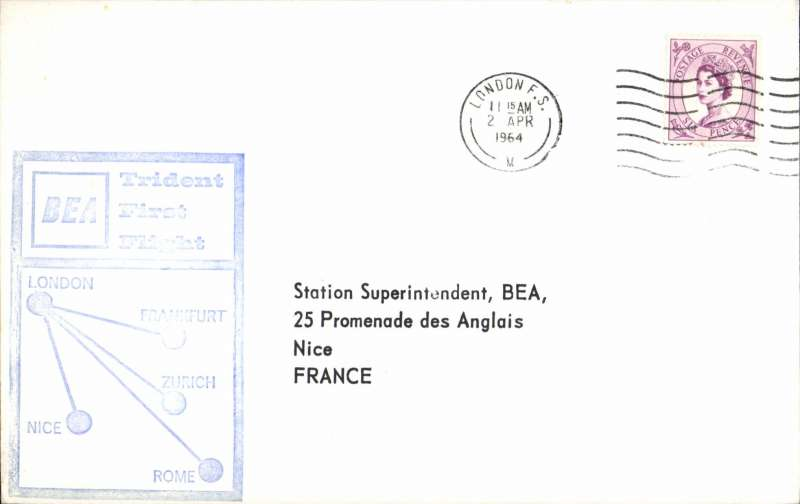 (GB External) BEA  Trident F/F London to Paris, bs, souvenir cachet cover. Image.