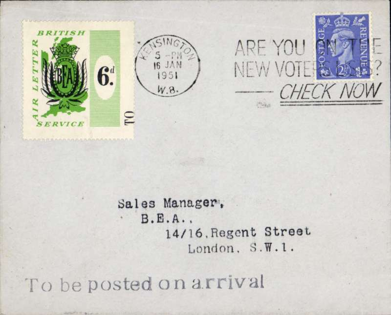 (GB Internal) BEA, first Belfast-London Airway Letter with 6d BEA stamp tied Kensington 16/1 cds, POA in London, also franked KGV 2 1/d, black st line 'To Be Posted On Arrival' hs on front, and black two line 'BEA 16 Jan/Belfast' hs verso.