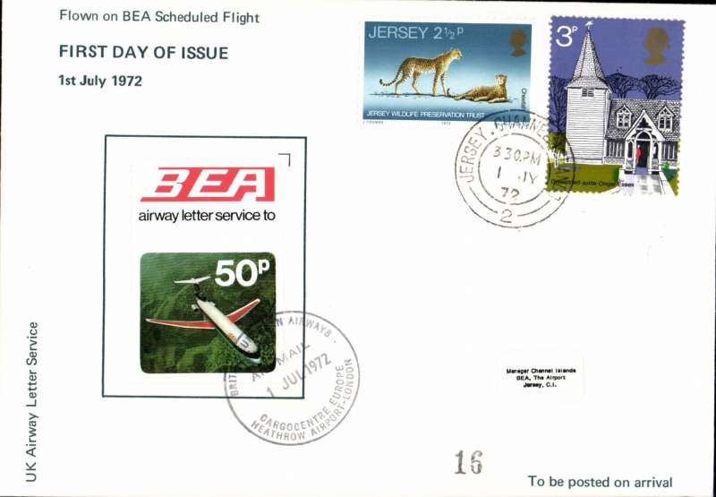 (GB Internal) BEA FDI 50p Air Letter Stamp on scheduled flight Jersey to London, arrival ds on front, souvenir cover.