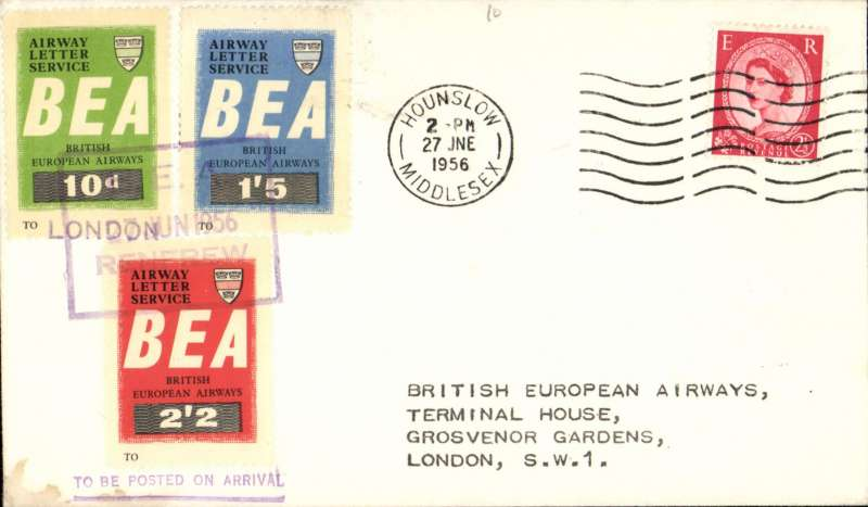 (GB Internal) BEA airway letter labels, complete set 10d, 1/5d, 2/2d, violet 'boxed 27th June 1956/Renfrew' airport cachet, on plain cover franked 2 1/2d, flown on day of issue from Renfrew-London, POA Hounslow 27/6, see Lister p26.