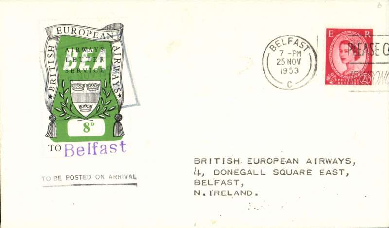 (GB Internal) First day BEA 8d crest in shield label, official cover flown Birmingham-Belfast, franked QEII 2 1/2d, 8d label tied by BEA Birmingham dated depart cachet, posted on arrival in Belfast.