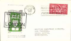 """(GB Internal) London to Birmingham, official cover franked FDI BEA 8d, cachet """"By Helicopter Service"""", POA, BEA."""