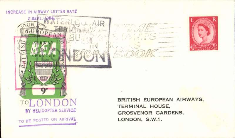 "(GB Internal) Southampton to London, official cover franked FDI BEA 9d, cachet ""Increase in Airway Letter Rate/ 1 Sept 1954"", POA, BEA."