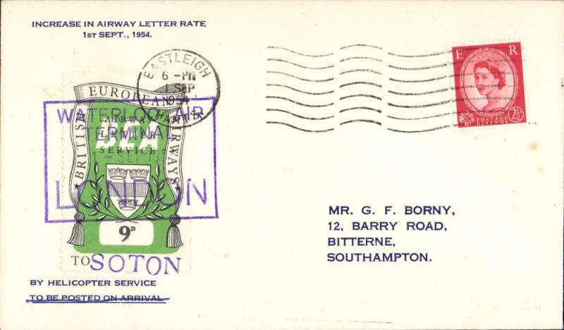 "(GB Internal) London to Southampton, official cover franked FDI BEA 9d, cachet ""Increase in Airway Letter Rate/ 1 Sept 1954"", POA, BEA."
