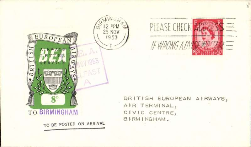 (Ireland) First day BEA 8d crest in shield label, official cover flown Belfast-Birmingham franked QEII 2 1/2d, 8d label tied by BEA Belfast dated depart cachet, posted on arrival in London.
