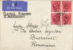(GB External) Airmail from the RAF Staff College at Bracknell to Lady Hoare, Brtish Delegation, Bucharest, bs 26/10,  cover with 'Visu et Nisu' logo ( by vision and effort) embossed on flap, franked 4d canc Andover cds,