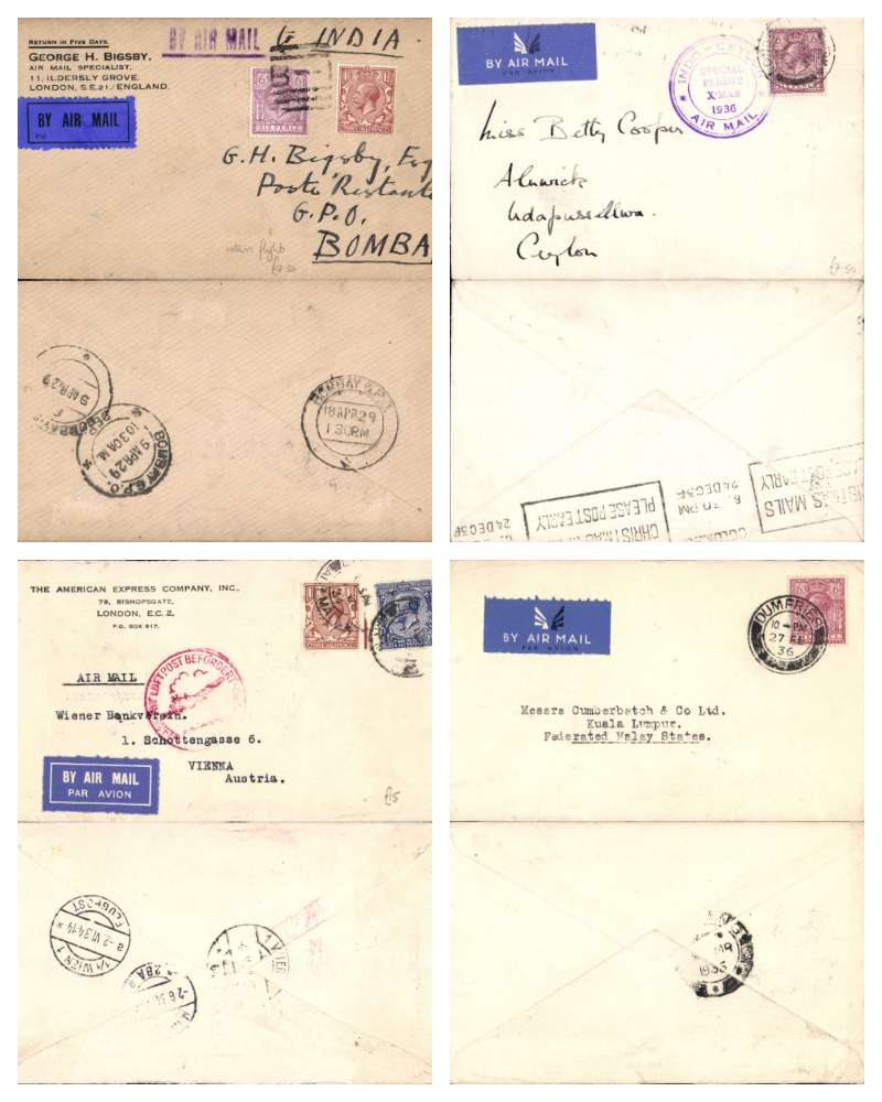 (Collections) Imperial Airways, eight commercial covers flown from GB between 1929-1939 to a variety of destinations, to Buenos Aires, to Bombay, to the British Legation Bucharest, Ceylon, Kampala, Kuala Lumpur, to passenger on board the SS Avoceta at Las Palmas (a little rough opening along top edge see scan, and to Vienna.. A variety of postages, and all with departure and arrival marks offering a good opportunity to study routes and flights. Good to fine, see images