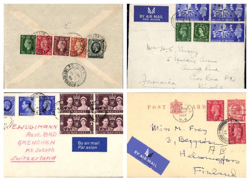 (Collections) GB mixed franking 1930's airmail covers (4) all flown overseas  by Imperial Airways, including 1937 KGV 2 1/2d, KEVIII 2 1/2d, KGVI 2 1/2d+Coronation 1 1/2d x4 on Dorchester Hotel cover to Switzerland;  KGVI+QEII t+ KGVI Festival of Britain 4d x4 to Jamaica;  KGV+KGVI 1/2d,1d,1 1/2d ns 2d to Trinidad; and  KGV PSC+KGVI 1d x2 to Finland. Image.