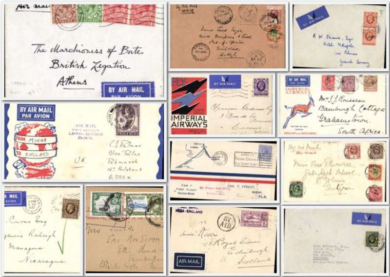 (Collections) KGV franked collection of 24 airmail covers, most middle 1930's, noted four F/F's inc 1929 Bahamas, 1929 St Lucia (2), GB 1931, Nigeria 1936 and flown covers ex GBm India, Kenya to interesting destinations eg Las Palmas, Dar es Salaam, Entebbe, The British Legation Athens, Trinidad, Nicaragua, and a 1936 GB-Buenos Aires via Paris franked 4/- Most have arrival marks. Images