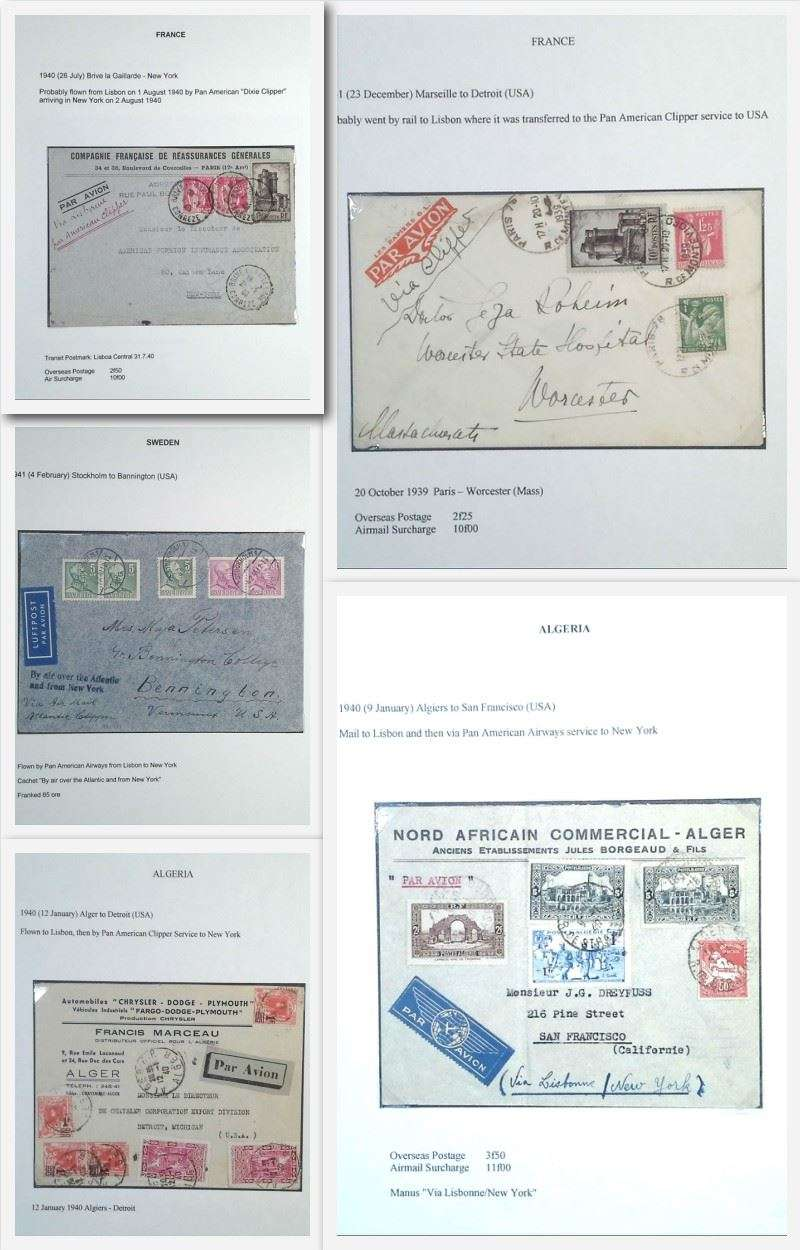 (Collections) Selection of five 1940-1941 WWII trans-Atlantic airmail covers flown from Europe/North Africa to USA comprising 1940 Alger-New York, 1940 Alger-San Francisco, 1940 France-New York,  1941 Marseille-Detroit, and 1941 Stockholm-Bannington, USA.  All nicely presented on album leaves with explanatory text. Image.