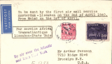 """(Sweden) KLM/Pan Am first flight cover on wartime connection between Scandinavia and USA on 2/4/40, Stockholm to New York, bs 4/4, airmail etiquette cover franked 85 ore, typed """"To be sent by the first air mail service/Amsterdam-Lissabon on the 2nd of April 1940/From Malmo on the 1st of April"""", black boxed 'Par service Aerien/transatlantique/Lissabon-Etats Unis'. Carried on the KLM F/F Stockholm-Amsterdam-Lisbon, then FAM 18 to New York. A scarce and significant wartime item."""