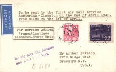 "(Sweden) KLM/Pan Am first flight cover on wartime connection between Scandinavia and USA on 2/4/40, Stockholm to New York, bs 4/4, airmail etiquette cover franked 85 ore, typed ""To be sent by the first air mail service/Amsterdam-Lissabon on the 2nd of April 1940/From Malmo on the 1st of April"", black boxed 'Par service Aerien/transatlantique/Lissabon-Etats Unis'. Carried on the KLM F/F Stockholm-Amsterdam-Lisbon, then FAM 18 to New York. A scarce and significant wartime item."