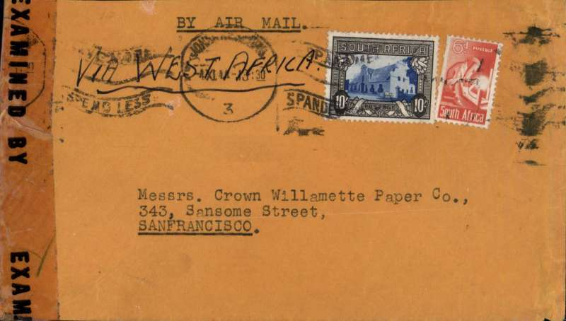 (South Africa) Scarce triple rated WWII censored cover, Johannesburg to San Francisco, plain cover franked 10/- + 6d, canc Johannesburg cds, typed 'By Air Mail', sealed US EB 30280 (Miami) censor tape. Correctly rated for 3x the 3/6d South Africa-US rate, which had been reduced from 4/-per 1/2oz on 28 August 1944.