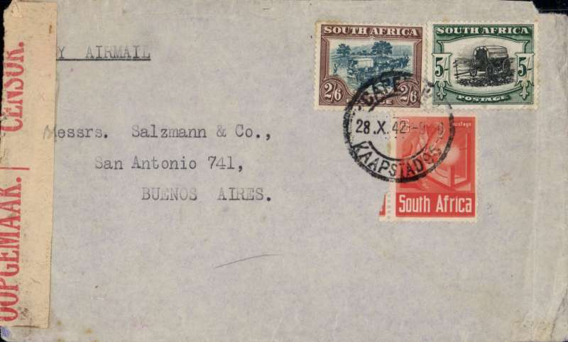 (South Africa) Double rate WWII censored cover, Cape Town to Buenos Aires, 20 Nov 1942 Natal transit cds, plain cover franked 8/- (5/- (sg38, cat £35 used), 2/6d and 6d, canc Cape Town cds, sealed red/cream South Africa bilingual OBC censor tape tied by magenta 'coat of arms' /A' , typed 'By Air Mail'. Correctly rated for 2x the 4/- South Africa-US rate. Small non invasive top rh corner nibble, does not detract. See image.