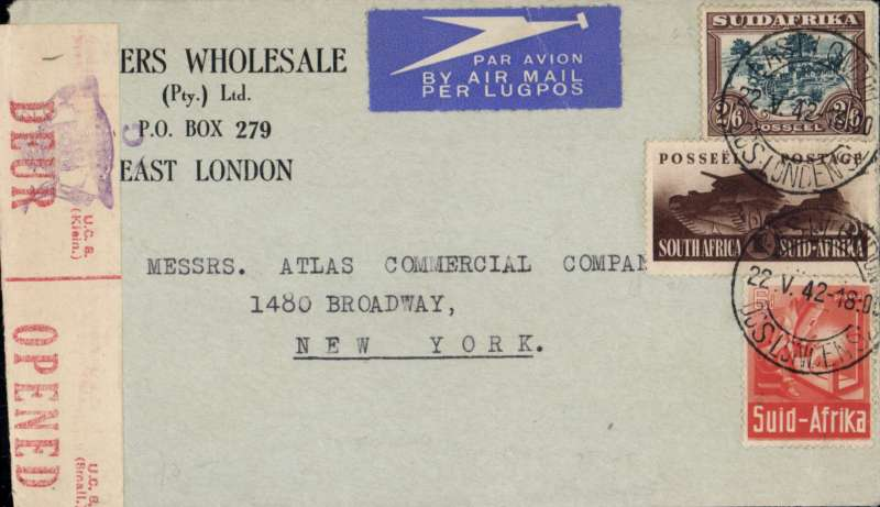 (South Africa) WWII censored cover, East London to New York, commercial airmail etiquette corner cover correctly rated for the 4/- South Africa-US rate. sealed red/cream South Africa bilingual OBC censor tape.