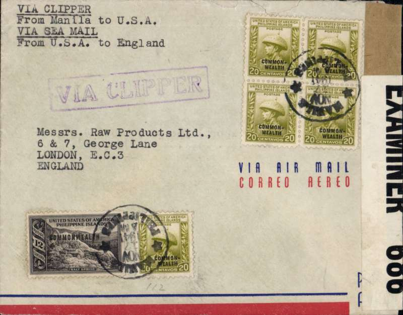 (Philippines) Doubled censored wartime airmail,  Manila to London, airmail cover franked 1P 12c, violet 'Via Clipper' hs, typed 'Via Clipper/from Manila to USA/Via Sea Mail /from USA to England'. sealed brown likely US censor tap overlaid by GB PC90 OBE 686 censor tape, Flown to San Francisco by Pan Am FAM14 and US internal air service to New York, then sea to England. Image.