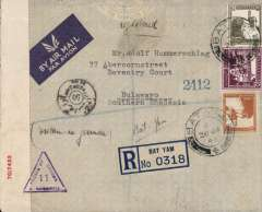 (Palestine) World War II triple censored cover, Bat Yam, Palestine to Bulawayo, Southern Rhodesia, bs 9/2, via Tel Aviv 29/1, and Salisbury 8/2, registered (label) imprint etiquette cover franked 75ml canc Bat Yam cds, ms 'Written in German', sealed Palestine red/white PC22 censor tape tied by violet Palestine five line censor mark verso and violet triangular 'Passed By Censor/11/S. Rhodesia' censor mark on front, also black Egyptian censor mark on front.,  Correctly rated 65c + 15c reg for carriage by BOAC, MISR or Sabena, see Boyle p551. An uncommon origin/destination with great routing. Image.