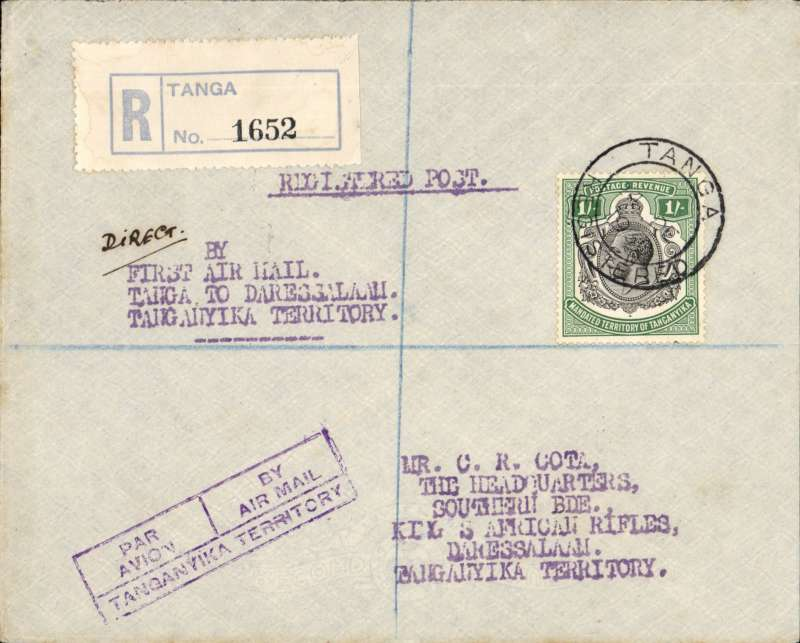 """(Tanganyika) Tanganyika Govt Air Service, first direct flight Tanga to Dar es Salaam, bs 26/12 , registered cover with Tanga regn label,  boxed violet """"Par Avion/By Airmail/ Tanganyika Territory"""" hs (P 9 McQueen), violet ms/typed endorsement ms """"Direct"""" typed """"By First Air Mail Tanga to Dar es Salaam. Tanganyika Territtory"""", franked Tanganyika KGV 1/-.  50 flown  (Colley 2 Ed p40)."""