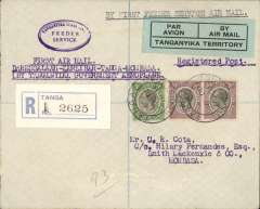 "(Tanganyika) Tanganyika Government Feeder Service,  Dar es Salaam to Mombasa via Tanga and Zanzibar, F/F Tanga to Mombasa, bs 21/10, registered (label) Cota cover addressed to HQ, Kings African Rifles, franked 65c, nice strike oval blue 'Tanganyika Territory/Feeder Service' hs, typed endorsement ""First Air Mail/ Dar es Salaam-Zanzibar-Tanga-Mombassa/By Tanganyika Government Aeroplane"", blue green/black 'Par Avion/Tanganyika Territory' etiquette. Small mail."